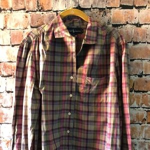 Ralph Lauren muted pink plaid button up. Size L